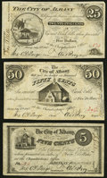Albany, NY- City of Albany 25¢; 50¢ July 17, 1862; 5¢ Nov. 24, 1862 Fine or Better. ... (Total: 3 notes)