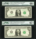 Small Size:Federal Reserve Notes, Radar Serial Number 57355375 and Repeater Serial Number 57355735 Fr. 3004-K $1 2017 Federal Reserve Notes. PMG Graded Superb G... (Total: 2 notes)