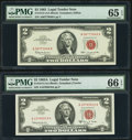 Small Size:Legal Tender Notes, Fr. 1513 $2 1963 Legal Tender Note. PMG Gem Uncirculated 65 EPQ;. Fr. 1514 $2 1963A Legal Tender Note. PMG Gem Uncirculate... (Total: 2 notes)