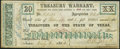Obsoletes By State:Texas, Austin, TX- Texas Treasury Warrant $20 July 6, 1864 Cr. 25B About Uncirculated.. ...