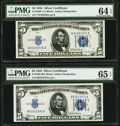 Small Size:Silver Certificates, Fr. 1650 $5 1934 Silver Certificate. PMG Gem Uncirculated 65 EPQ;. Fr. 1650* $5 1934 Silver Certificate. PMG Choice Uncirc... (Total: 2 notes)