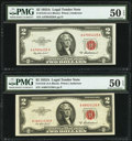 Fr. 1510 $2 1953A Legal Tender Notes. Two Examples. PMG About Uncirculated 50 EPQ. ... (Total: 2 notes)
