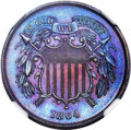Proof Two Cent Pieces, 1864 2C Large Motto PR67 Brown NGC....