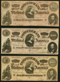 Confederate Notes:1864 Issues, T65 $100 1864 PF-1 Cr. 490; Cr. 491; PF-3 Cr. 494 Very Fine or Better.. ... (Total: 3 notes)