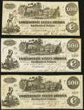 Confederate Notes:1862 Issues, T39 $100 1862 PF-13 Cr. 294; 296 (2) Very Fine-Extremely Fine or Better.. ... (Total: 3 notes)