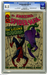 The Amazing Spider-Man #6 (Marvel, 1963) CGC VF+ 8.5 Off-white pages. He's half-man and half-reptile; long time Spidey f...