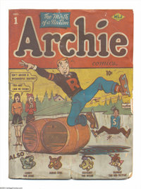 Archie #1 (Archie, 1942) Condition: PR/FR. Bad news first: The pages are very brittle and the cover is soiled. And now...