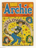 "Golden Age (1938-1955):Horror, Archie #5 (Archie, 1943) Condition: GD. Halloween cover, with""witch"" Archie riding a flying broom. Rich cover colors. Britt..."