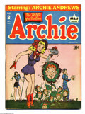 Golden Age (1938-1955):Horror, Archie #8 (Archie, 1944) Condition: GD. Betty waters Archie flowerson brightly hued cover. Brittle pages. Overstreet 2004 G...