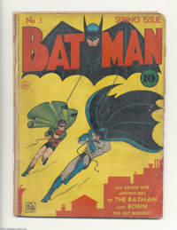 Batman #1 (DC, 1940) Condition: FR. One of comics' all-time key issues at an affordable price. Brittle, spine totally sp...