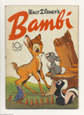 Golden Age (1938-1955):Cartoon Character, Four Color #12 Walt Disney's Bambi (Dell, 1942) Condition: GD.Bambi #1. Adorable cover with vivid colors. Some spine distre...