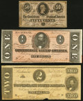 Confederate Notes:1864 Issues, T70 $2 1864 Fine-Very Fine;. T71 $1 1864 About Uncirculated;. T72 50 Cents 1864 About Uncirculated.. ... (Total: 3 notes)