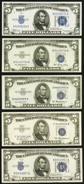 Small Size:Silver Certificates, Fr. 1650 $5 1934 Silver Certificate. Crisp Uncirculated;. Fr. 1651 $5 1934A Silver Certificate. Crisp Uncirculated;. F... (Total: 5 notes)