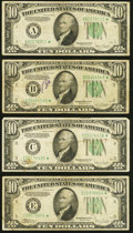 Small Size:Federal Reserve Notes, Fr. 2008-A*; B*; C*; E* $10 1934C Wide Federal Reserve Star Notes. Fine or Better.. ... (Total: 4 notes)