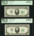 Small Size:Federal Reserve Notes, Fr. 2059-J $20 1950 Federal Reserve Note. PCGS Gem New 65PPQ;. Fr. 2060-C $20 1950A Federal Reserve Note. PCGS Very Choice... (Total: 2 notes)