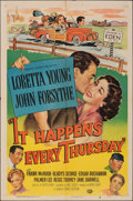 """Movie Posters:Comedy, It Happens Every Thursday (Universal International, 1953). Folded, Very Fine-. One Sheet (27"""" X 41""""). Comedy.. ..."""