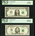 Small Size:Federal Reserve Notes, Low Serial 50 Fr. 1933-F $1 2006 Federal Reserve Note. PCGS Gem New 65PPQ;. Low Serial 84 Fr. 1985-K $5 1995 Federal Reser... (Total: 2 notes)