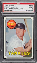 Baseball Cards:Singles (1960-1969), 1969 Topps Mickey Mantle (Last Name In Yellow) #500 PSA Mint 9 - Only Two Higher....