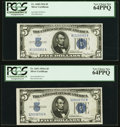 Fr. 1650 $5 1934 Silver Certificate. PCGS Very Choice New 64PPQ; Fr. 1651 $5 1934A Silver Certificate. PCGS Very Choice...