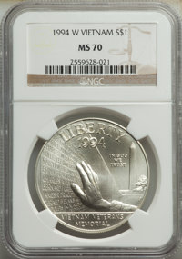 1994-W $1 Vietnam MS70 NGC. NGC Census: (606). PCGS Population: (537). CDN: $80 Whsle. Bid for NGC/PCGS MS70. ...(PCGS#...