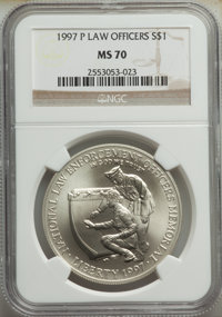 1997-P $1 Law Enforcement Silver Dollar MS70 NGC. NGC Census: (275). PCGS Population: (212). CDN: $145 Whsle. Bid for NG...