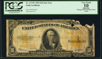 Fr. 1173* $10 1922 Gold Certificate Star PCGS Apparent Very Good 10