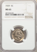 1929 5C MS65 NGC. NGC Census: (268/49). PCGS Population: (674/225). CDN: $190 Whsle. Bid for NGC/PCGS MS65. Mintage 36,4...