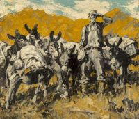 Frank B. Hoffman (American, 1888-1958) The Prospector and his Burros Oil on canvas 36 x 42 inches