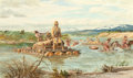 Paintings, John Ford Clymer (American, 1907-1989). The Lewis Crossing. Oil on board. 24 x 40 inches (61.0 x 101.6 cm). Signed lower...