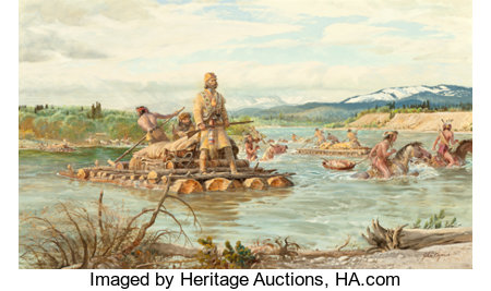 John Ford Clymer (American, 1907-1989) The Lewis Crossing Oil on board 24 x 40 inches (61.0 x 101.6 cm) Signed lower...