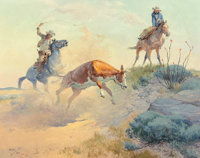Charlie Dye (American, 1906-1972) Holding for the Heeler, 1960 Oil on board 24 x 30 inches (61.0 x 76.2 cm) Signed a