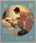 Paintings, Norman Rockwell (American, 1894-1978). Mother Tucking Children into Bed (Mother's Little Angels), Literary Digest cover,...