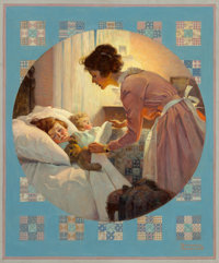 Norman Rockwell (American, 1894-1978) Mother Tucking Children into Bed (Mother's Little Angels), Literary Diges