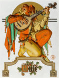 Paintings, Joseph Christian Leyendecker (American, 1874-1951). Yule (Musical Jester), The Saturday Evening Post cover, December 26,...