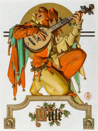 Joseph Christian Leyendecker (American, 1874-1951) Yule (Musical Jester), The Saturday Evening Post cover