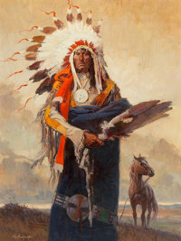 Roy Andersen (American, 1930-2019) Chief Stands and Looks Back Oil on board 38 x 28-1/2 inches (96.5 x 72.4 cm) Sign