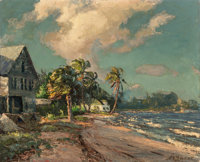 Albert E. Backus (American, 1906-1991) Ocean Cottages Oil on canvas 24 x 30 inches (61.0 x 76.2 c