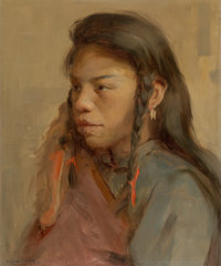 Eanger Irving Couse (American, 1866-1936) Tapatie, 1891 Oil on canvas laid on board 18-1/4 x 15 i