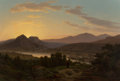 Paintings, Thomas Worthington Whittredge (American, 1820-1910). Sunrise, View of Drachenfels from Rolandseck, circa 1850. Oil on ca...