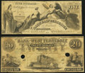 Knoxville, TN- Bank of East Tennessee, Payable at Jonesboro $5 Jan. 1, 1853 Fine-Very Fine; Memphis, TN- Bank of West...