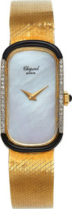 Timepieces:Wristwatch, Chopard, 18k Gold, Diamond, Onyx & Pearl Lady's Watch, Ref. 5084, Circa 1970's. ...