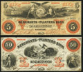 Obsoletes By State:Georgia, Savannah, GA- Merchants and Planters Bank $5; $50 June 1, 1860 Very Fine or Better.. ... (Total: 2 notes)