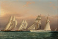Paintings, James Edward Buttersworth (American, 1817-1894). The Sail/Steam Yacht EMILY of the New York Yacht Club Observing a Stakes ...