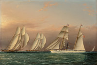 James Edward Buttersworth (American, 1817-1894) The Sail/Steam Yacht EMILY of the New York Yacht Club Observing