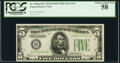 Small Size:Federal Reserve Notes, Fr. 1956-B* $5 1934 Mule Federal Reserve Note. PCGS Choice About New 58.. ...