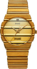 Timepieces:Wristwatch, Piaget 18k Gold Polo, Day-Date, Ref. 15562 C 701, circa 19...