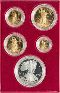 1995-W Five-Piece 10th Anniversary Silver Eagle and Gold Proof Set, Uncertified