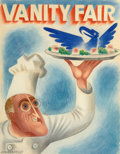 Works on Paper, Miguel Covarrubias (Mexican, 1904-1957). Cooking Up the New Deal, Vanity Fair cover, November 1934. Gouache and pencil o...