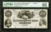 Hackettstown, NJ- Hackettstown Bank $20 18__ Proof G12 PMG Choice Uncirculated 63