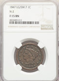 Large Cents, 1847 1C Large Over Small 7, N-2, R.3, Fine 15 NGC. NGC Census: (2/12). PCGS Population: (0/8). Fine 15. Mintage 6,183,669....